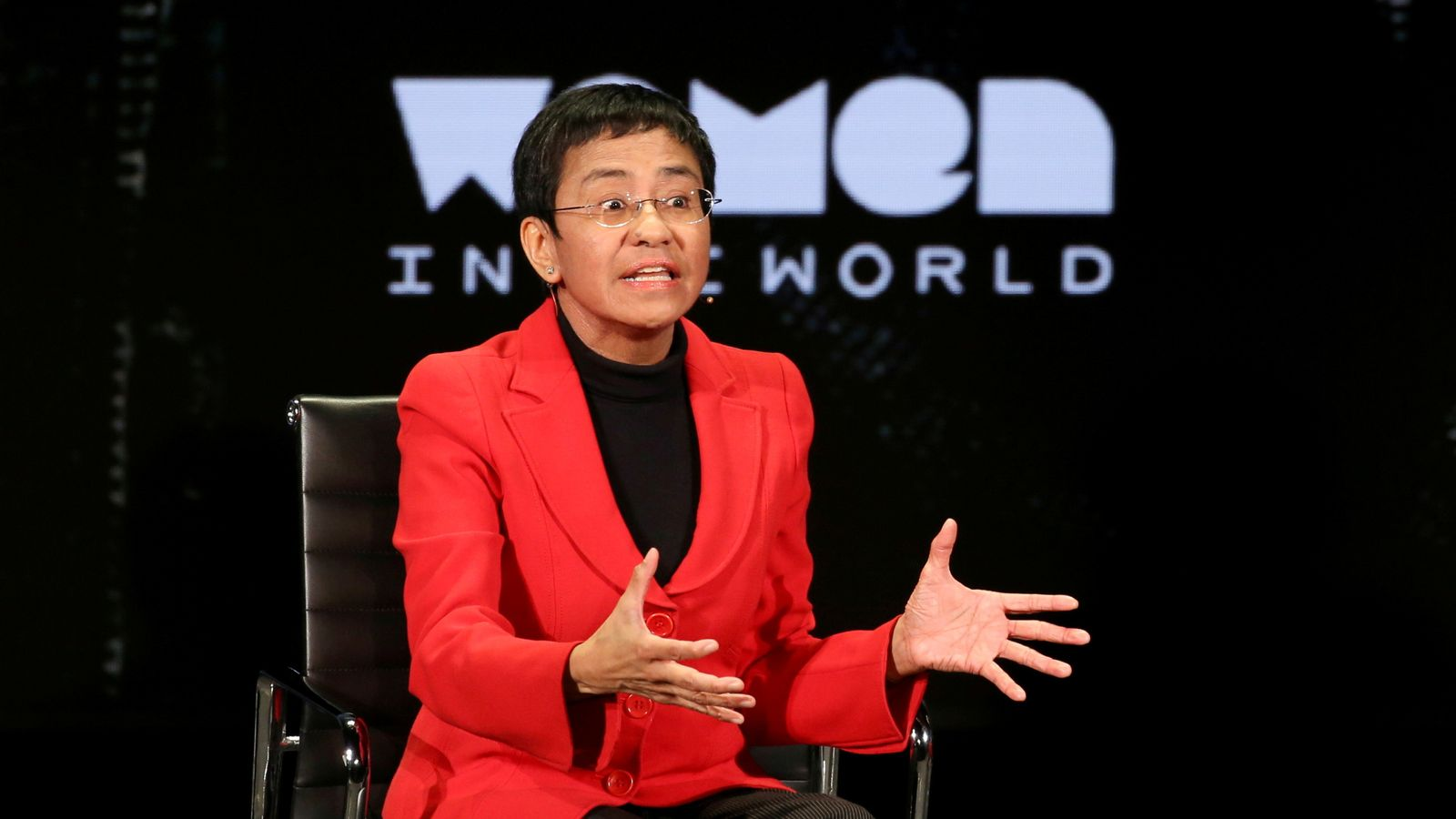 FILE PHOTO: Maria Ressa takes part in a Women In The World Summit in New York City, April 10, 2019. REUTERS/Caitlin Ochs/File Photo