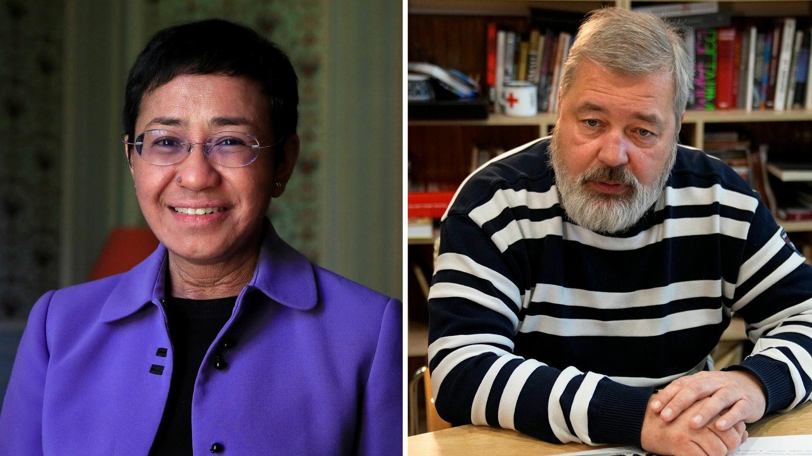 MARIA RESSA AND DMITRY MURATOV WIN 2021 NOBEL PEACE PRIZEcomp - AP/REUTERS