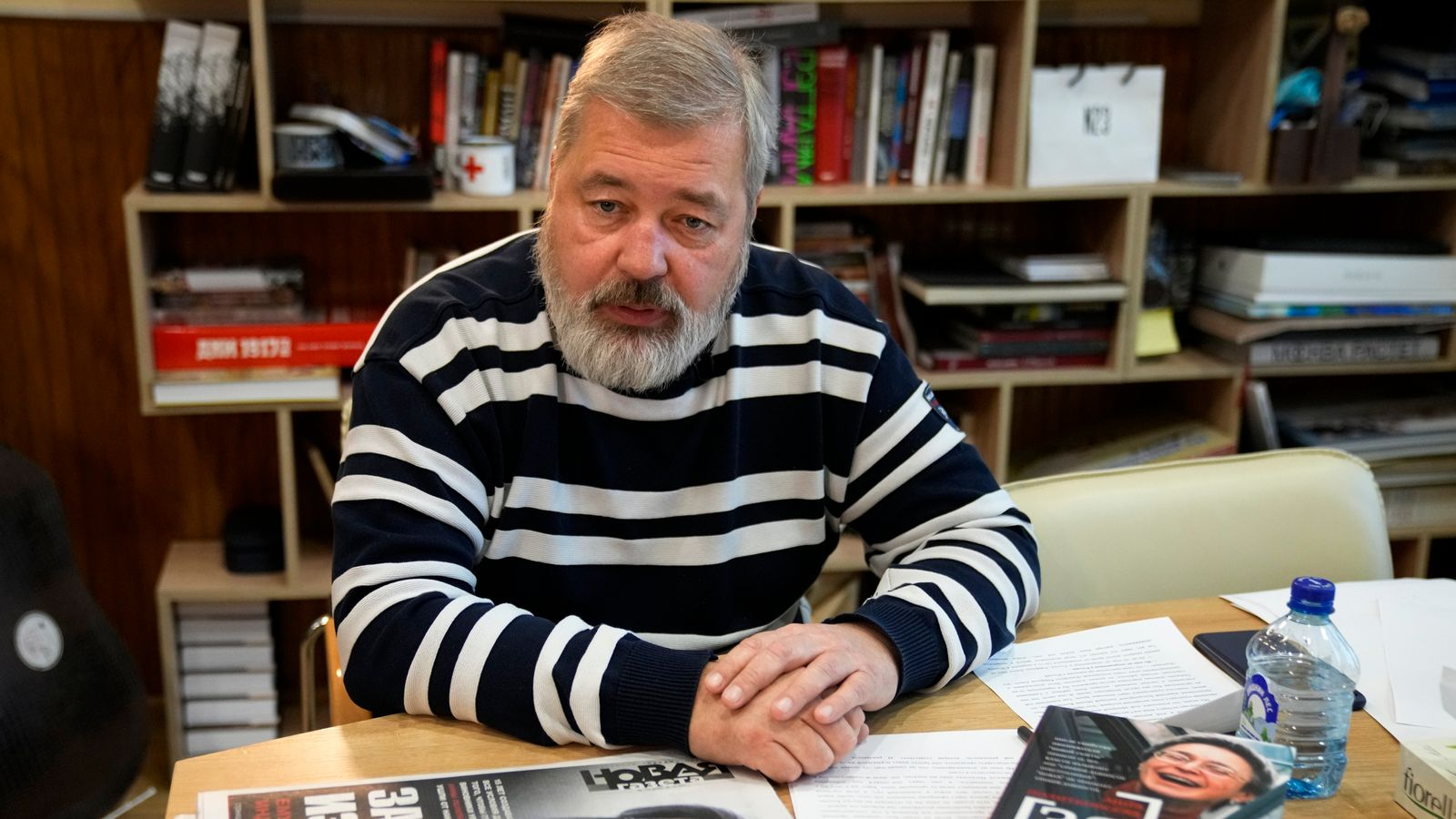 Novaya Gazeta editor Dmitry Muratov speaks during an interview with The Associated Press at the Novaya Gazeta newspaper, in Moscow, Russia, Thursday, Oct. 7, 2021. Colleagues of investigative reporter Anna Politkovskaya are sharply criticizing the Russian authorities for failing to track down the mastermind of her killing 15 years ago.PIC:AP